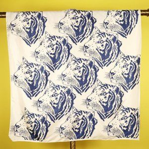 Vintage Tiger Cat Scarf White Blue Animal Print